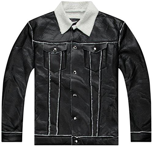 5efc317e14614 Pizoff Uomo Hip Hop Jacket Giacche in pelle sintetica con rever in finto  montone effetto riccio