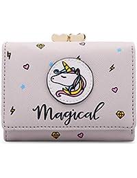 moca Magical Unicorn short mini wallet Purse for Womens Girls Ladies Short Mini Small Clutch Wallet cash card coin holder purse for womens Women's Ladies Girls