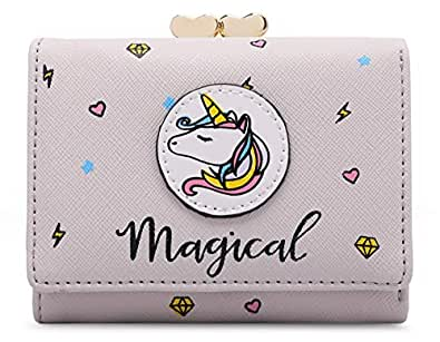 moca Magical Unicorn short mini wallet Purse for Womens Girls Ladies Short Mini Small Clutch Wallet cash card coin holder purse for womens Women's Ladies Girls