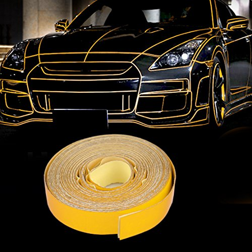 beler Gelb 5m x 1cm Universal Auto LKW Motorrad Reflektierende Selbstklebende Reflektor Streifen Aufkleber Reflexfolie Reflektorband (Universal Reflektor)