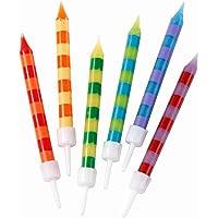 Talking Tables HB-CANDLE Lot de 24 bougies d'anniversaire à rayures multicolores avec supports | Rainbow Cake Topper…