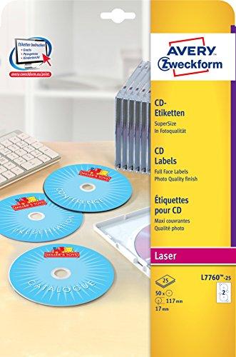Avery Zweckform L7760-25 CD-Etiketten (A4, 50 Stück, hochglänzend, Ø 117 mm) 25 Blatt weiß
