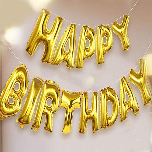 day Ballon, Gold Luftballon Folienballons Buchstabenballons Luftballons Geburtstag, Latex Ballons, Elegante Party Supplies für Frauen, Kinder Baby Mädchen Party ()