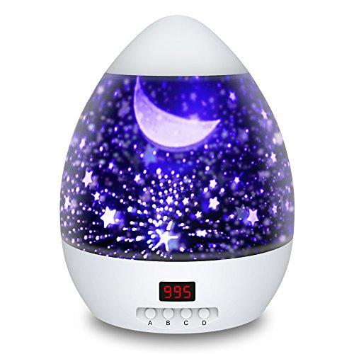 Sternenhimmel Projektor Eiförmige Kinderlampe mit Timer 8 Farbkombinationen 4 LED Birnen 2 Aufladungmethode 360 Grad Rotation Kindergeschenk mit Starry Stern Mond Perfekt für Kinder Geburtstag Party