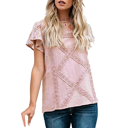 TIFIY Womens Casual Spitze Patchwork Flare Rüschen Kurzarm Sommer Cute Floral Shirt Lose Bluse Top (Medium, A_Rosa)