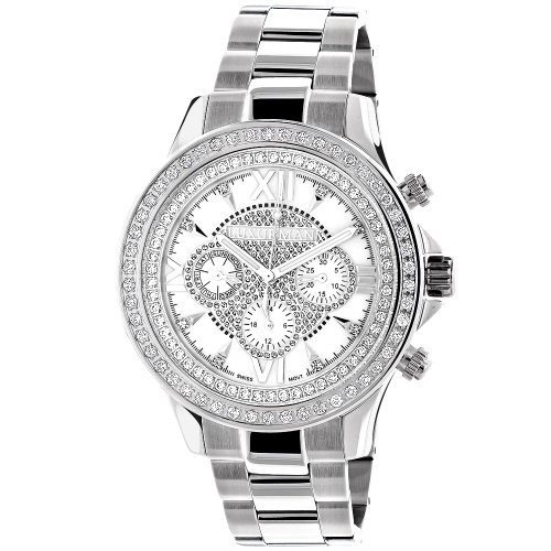 LUXURMAN-Diamond-Watches-White-Gold-Plated-Diamond-Watch-2ct