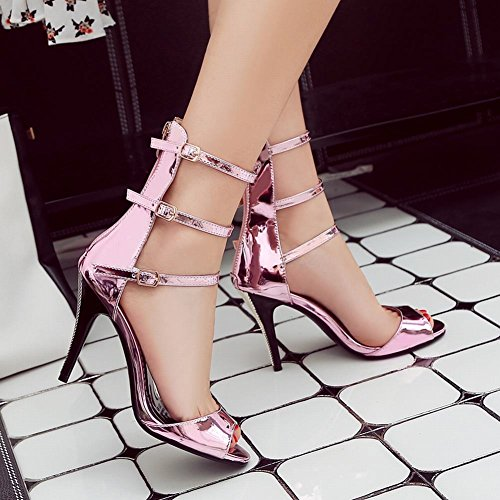 Mee Shoes Damen Reißverschluss open toe high-top Sandalen Pink