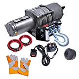 ReaseJoy 4000lbs(1814kgs) 1.24HP Electric Recovery Winch with Line Stopper Gloves for ATV Trailer Truck 12V