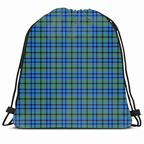 DHNKW Drawstring Backpack String Bag 14x16 Blue Ancient Patterned Clan Keith Tartan Green Plaid Irish Black Celtic Checkered Christmas Kilt Classic Sport Gym Sackpack Hiking Yoga Travel Beach -