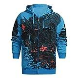 Yvelands Herren Sweatshirt Hoodie Herbst Winter gedruckt Schulter Freizeit Jacke Kragen Mantel lässig(EU-50/XL,Blau)
