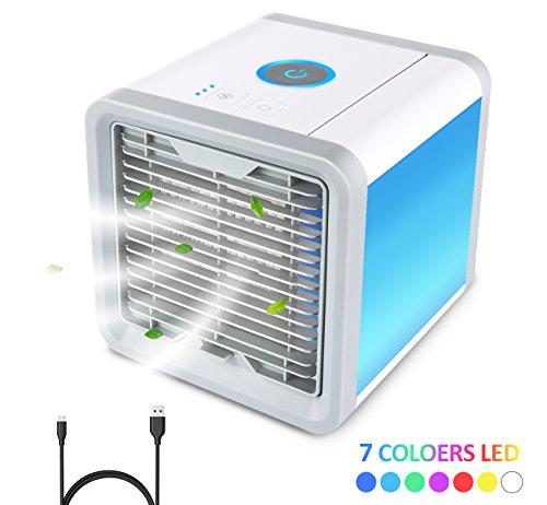 Mini Luftkühler Air Cooler,Cubewit Luftbefeuchter Luftreiniger Mobile Klimageräte Tischklimaanlage Klein 3 Stufe Ventilator 7 Farben LED Nachtlicht