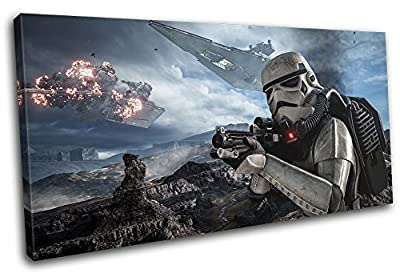 Bold Bloc Design - Star Wars Battlefront Gaming SINGLE Canvas Art Print Box Framed Picture Wall Hanging - Hand Made In The UK - Framed And Ready To Hang