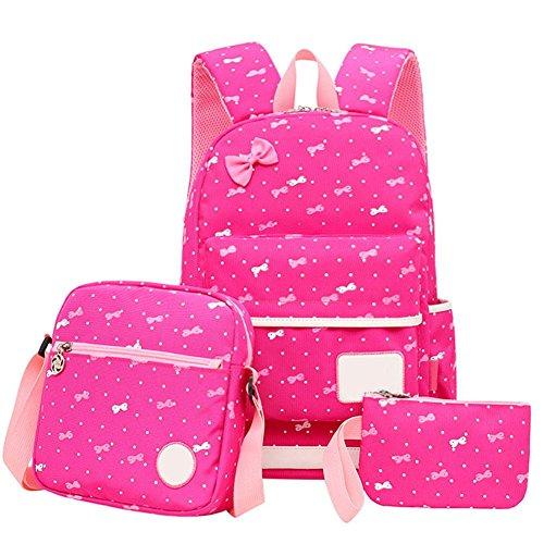 Hook.s Mädchen Canvas Rucksack, Student/Teens Modische koreanische Art Print Handtaschen Schultasche Bow Casual Daypack Set mit Umhängetasche + Bleistiftbeutel -