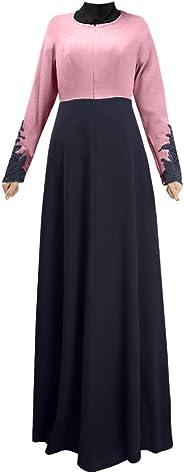Abaya for Women丨Women Dress New Look丨Muslim Single Layer Long Skirt Cuffs Lace Color Matching Hui Worship Service Jilbab Isla
