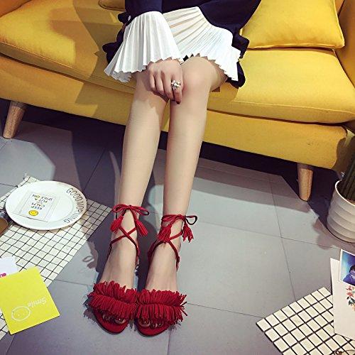 Le Scarpe Alla Moda Moderna Cross - Estate Moda Pesci Piatti Bocca Scarpe Femminili Sandali Sandali.,Signora Sandali,Dama Sandali Rosso