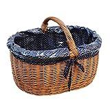 GalaDis 10-99-16 Großer Einkaufskorb aus Weide geflochten mit Innenfutter (blau), Weidenkorb Geschenkkorb Präsentkorb (50 x 35 x 25)