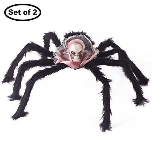 Art Beauty große Schwarze Spinne Halloween Dekoration mit Skull Head 2er Set für Gruselige Gruselige Party Supplies Web Fenster Tür Yard Garden Wall Decor