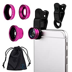 Pink Clip On 180 Degrees Portable 3 in 1 Camera Lens Kit - FishEye - Wide Angle - Macro for Motorola MB855 Photon 4G