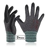 DEX FIT Arbeitshandschuhe, 3D Comfort Power Grip, dünn dehnbar fit NylonSpandex, maschinenwaschbar Klein FN330 Schwarz Grau 3PR