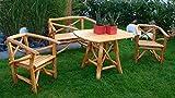4-tlg. Garnitur aus Knüppelholz in Eiche und Buche massiv mit Holzlasur in Eiche hell, 2 Sessel, 2-sitzer Bank und Tisch mit ovaler Tischplatte