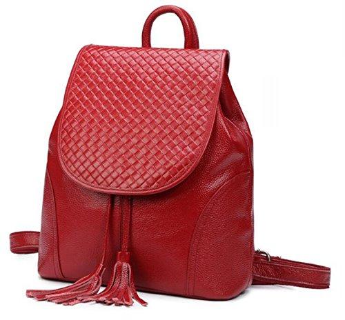 Rucksack Fashion Frauen Header Schicht von Ledertaschen wine red