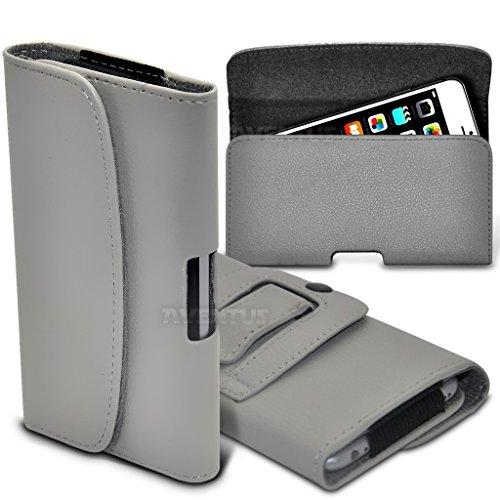 Aventus (Nero) Apple iPhone SE Custodia Orizzontale da Cintura in Finta Pelle di Alta Qualità con Clip e Chiusura Magnetica Grigio