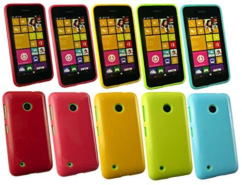 Emartbuy® Nokia Lumia 530 / Lumia 530 Dual Sim Glänzend Gel Hülle Schutzhülle Case Cover Packung 5 - Hot Rosa, Rot, Blau, Gelb, Grün
