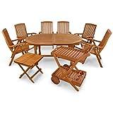 IND-70066-SFSE9BTSW Gartenmöbel Set Sun Flair, Garten Garnitur Sitzgruppe aus Holz - 9-teilig - Tisch + 6 x Stuhl + Beistelltisch + Servierwagen
