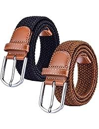Chalier Paquete de 2 Cinturón Trenzado de Lona elástica Femenina - Cinturones Elásticos Tejidos de Mujer para Jeans