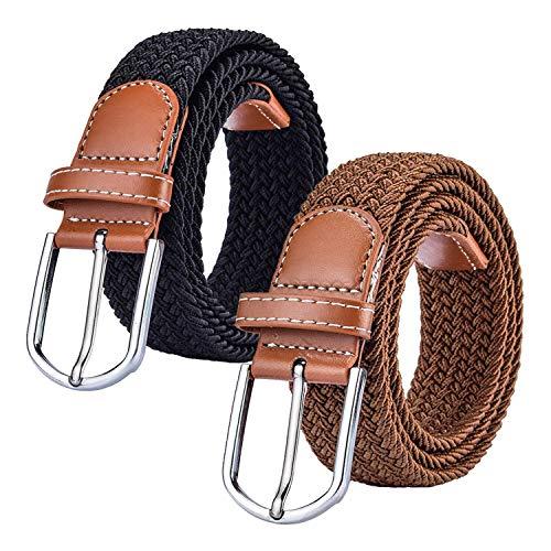 Chalier Women's Belt - Cinturón trenzado de tela multicolor con 2 paquetes