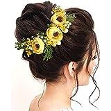 Hair Flare 2170 Artificial Flowers Women Hair Accessories Hair Pins For Wedding, Anniversary- Yellow