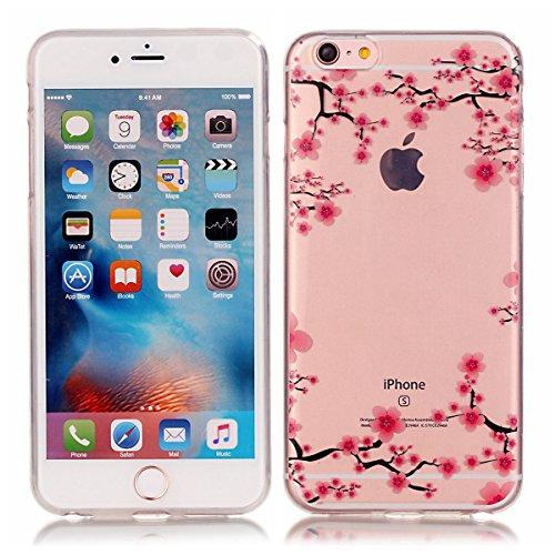 iPhone 6 Coque, iPhone 6S Coque, Lifeturt [ Ours ] Housse Anti-dérapante Absorbant Chocs Protection Etui Silicone Gel TPU Bumper Case pour Apple iPhone 6s / 6 E02-Fleur de Prunier