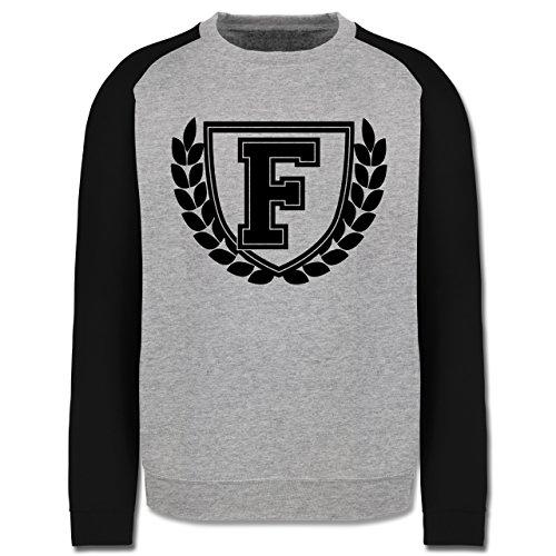 Anfangsbuchstaben - F Collegestyle - Herren Baseball Pullover Grau Meliert/Schwarz