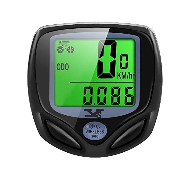 Y & S Unisex Adult Fahrrad Kabellos Wasserdichte Tacho  Motion Sensor für Radsport Realtime Geschwindigkeit und Distanz Track, schwarz