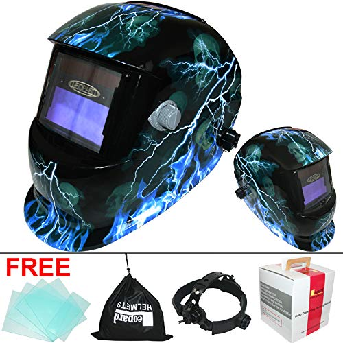 Leopard {Lightening} Solar & Battery Powered Auto Darking + Grinding Function + Replaceable Battery Welding Helmet Mask Safety Gear Test