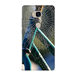 Qrioh Printed Designer Back Case Cover for Honor 5X - Bicycle Frame Spider Web