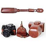 First2savvv Premium Qualität dunkelbraun Ganzkörper- präzise Passform PU-Leder Kameratasche Fall Tasche Cover für Fujifilm XT2 mit 18-55mm Lens mit Kameragurt -XJD-XT2-HD10S10