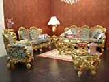 Barroco salón Set suite sofá, 2plazas, 3plazas sillón tallado mesa estilo envejecido Vp0890