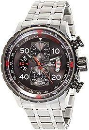 Invicta Men's Aviator 48mm Stainless Steel Chronograph Quartz Watch, Silver (Model: 17