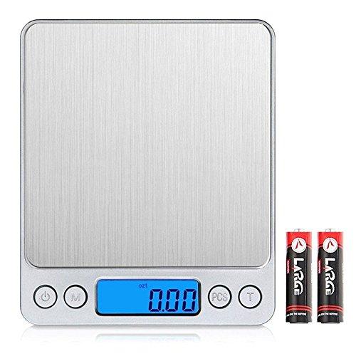 SIMCAST Digitale Küchenwaage, kleine Digitalwaage Professionelle Waage mini Electronische Waage Küchenwaage Briefwaage Hohe Präzision auf bis zu 0.001oz/0.01g 500g LCD-Display Balance Auf Geschenk-karte