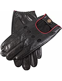 Dents Silverstone Men's Leather Touchscreen Driving Gloves BLACK/BERRY