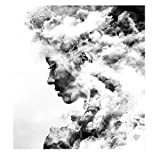 Rahmenlose Wandmalerei, Mädchen Rauchigen Hintergrund Sexy Mädchen-Plakat-Bild-Leinwand-Schwarzweiss-Malerei, Moderne Hauptwandkunst Keine Gerahmten Wandbilder,Zc,50×70cm