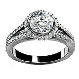 AmDxD Schmuck Benutzerdefinierter Ring Damen Ringe 925 Sterling Silber Solitärring Zirkonia Schneeflocke Gr.60 (19.1)