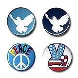 Friedensbewegung - Symbole: Friedenstaube - Victoryzeichen - CND Button 4er Set - Anstecker - Lizenziertes Originaldesign - LOGOSHIRT