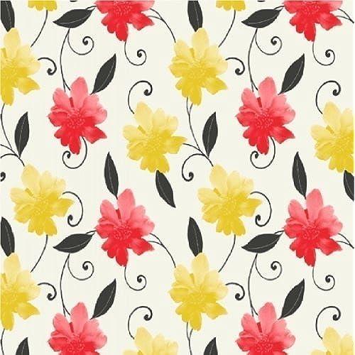 Yellow Floral Wallpaper Amazoncouk