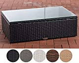 CLP Polyrattan Loungetisch Tibera I Gartentisch Mit Glasplatte I Beistelltisch Aus Flachrattan 60x100x32 cm Schwarz