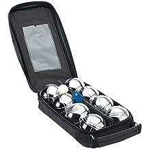 Boules - Juego de petanca (8 pelotas), color negro y plateado