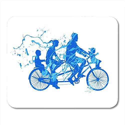 Mauspad blau Fahrrad Familie Walk on Tandem Bike Spritzlack Mauspad für Notebooks, Desktop Computer Matten Bürobedarf 25x30cm