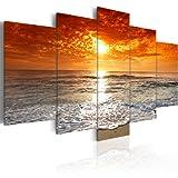 Bilder 100x50 cm - Fertig Aufgespannt - TOP - Vlies Leinwand - 5 Teilig - Wand Bild - Kunstdruck - Wandbild - See Meer Strand Landschaft 051401 - 100x50 cm - B&D XXL