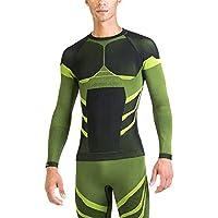 XAED - maglia a maniche lunghe a compressione, da uomo, Large, colore nero / lime